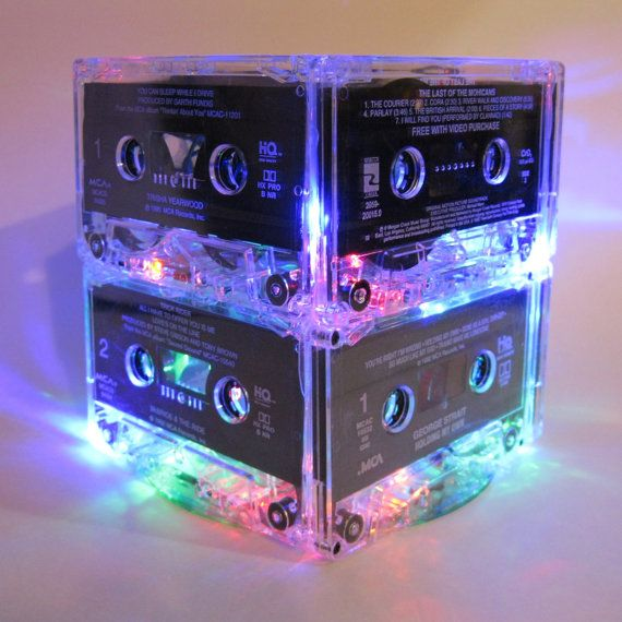 80s Music Lover Mix Tape Cassette Tape Centerpiece  8 Upcycled very rare blank cassette tapes. Attach & create a super fun rockin' retro night light holding 20 battery operated flashing & color-changing multi-color mini LED lights. . The colors are beautiful and vibrant and the color changing and flashing effect makes this light the PERFECT party centerpiece.