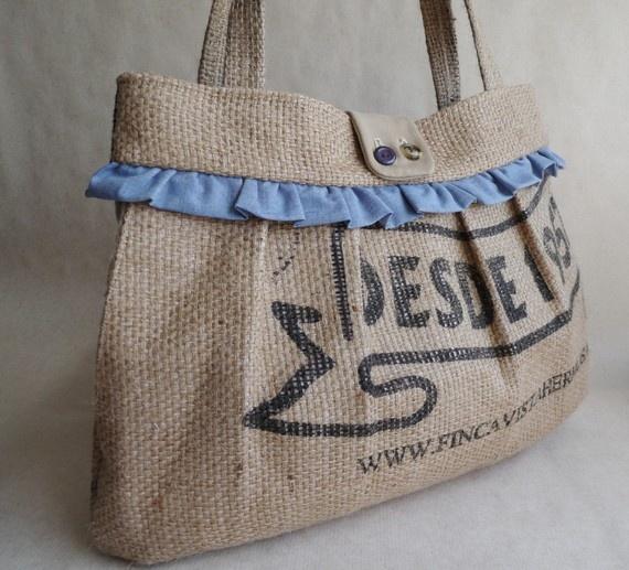 Love this burlap hand bag