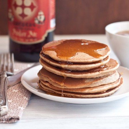 """Beer and Brown Sugar Pancakes. """"Some people want to be smacked in the mouth with the flavor of beer, while others want the flavors to fly under the radar, yielding a treat they serve to unwitting non-beer lovers. This pancake recipe falls right in the middle. Beer that you can taste, but mild."""" - The Beeroness"""