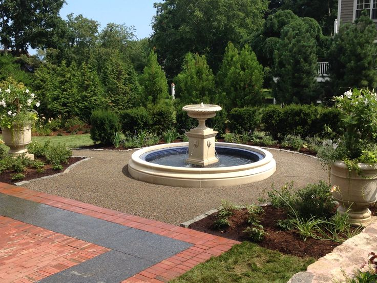 custom fountain crushed stone walkway cobble edging and