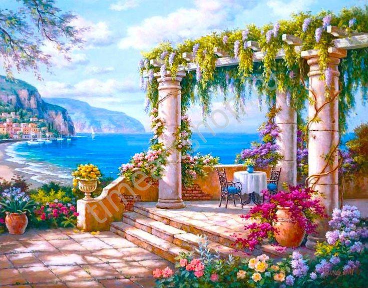 "Sung Kim ""Терраса на Лазурном берегу"" картина раскраска по номерам, размер 40*50 см, цена 750 руб."