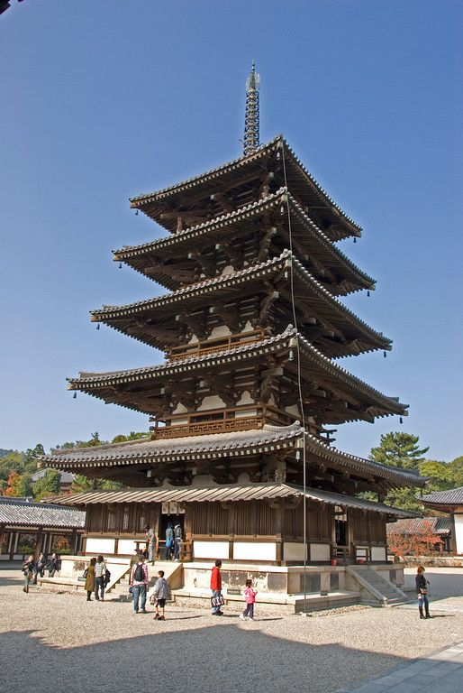 Five-story Pagoda at Temple in Horyuji, Temple. One of the wordlist oldest wooden buildings.