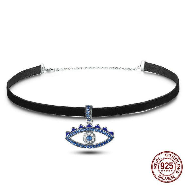 Collana nera con Occhio della fortuna Cz blu sterling silver 925 di 31+7cm disney perfetto regalo per nozze e donne con stile e charm SCN069 di OceanBijoux su Etsy