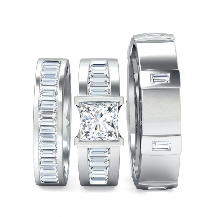 Quadrata Matching Set from www.1791diamonds.com.au: Stunning diamond baguette Wedding Bands form part of this matching Wedding Jewellery Set. The male and female Wedding Rings are perfectly matched to the striking Quadrata Engagement Ring.