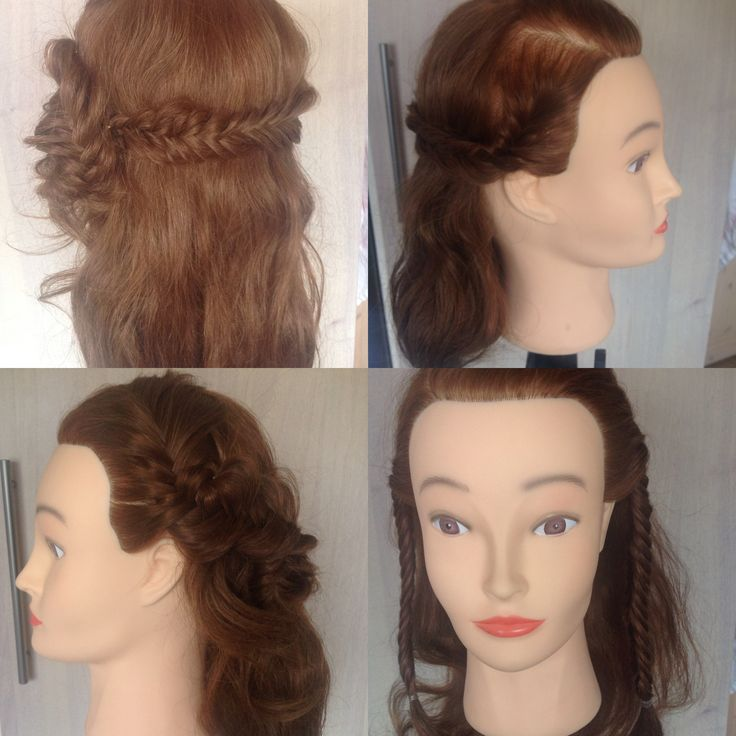 """Konfirmationshår. Start med sideskilning - lav to sildebensfletninger. """"Puf dem op"""" - saml dem i den ene side. Resten af håret er løsthængende, evt. Krøllet."""
