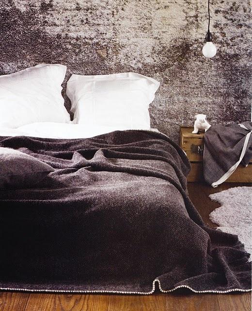 grey bed.