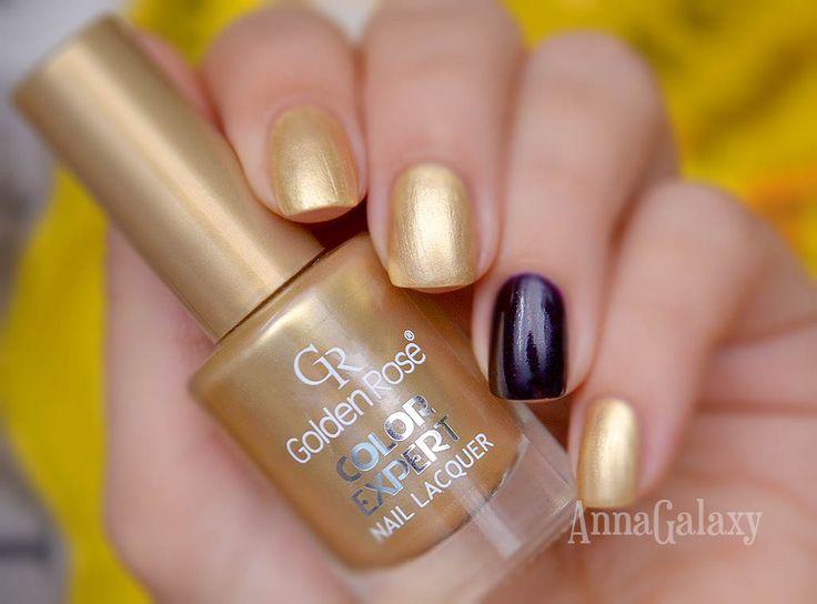 Anna Galaxy: Golden Rose Color Expert Nail Lacquer 61 + стемпинг с лаком для стемпинга Enas черный