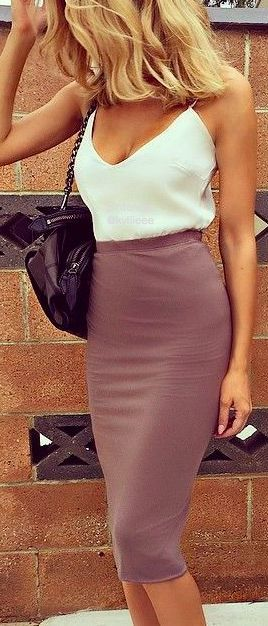 Women's fashion | Chic white cami with high waisted pencil skirt