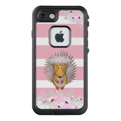 #Cute Watercolor Hedgehog Pink Floral Stripe LifeProof FRĒ iPhone 7 Case - #flower gifts floral flowers diy