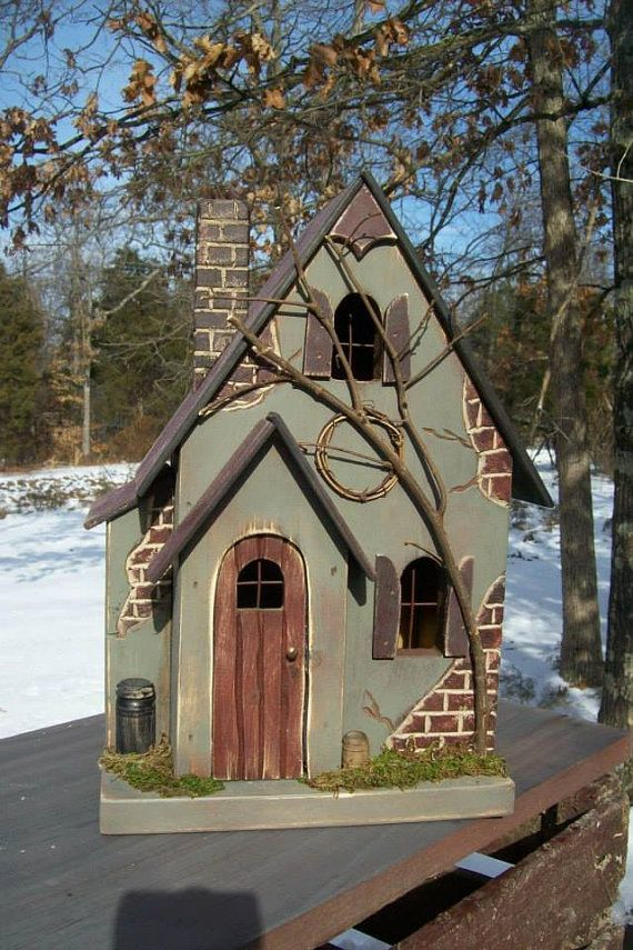 Primitive Lighted Fairy Cottage Sage w/ rusty black roof ~  Comes w/ light and cord ~ Whimsical ~ Birdhouse ~ Hobbit ~ Gnome