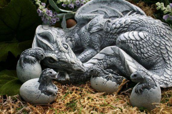 Dragon Sculpture - Handmade Fantasy Garden Concrete Art