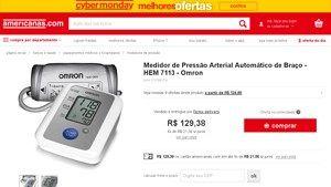 [Americanas.com] Medidor de Pressão Arterial Automático de Braço - HEM 7113 - Omron por R$ 129,38