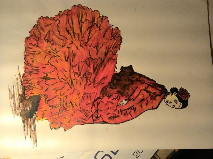 Danzatrice di flamenco, disegno con colori