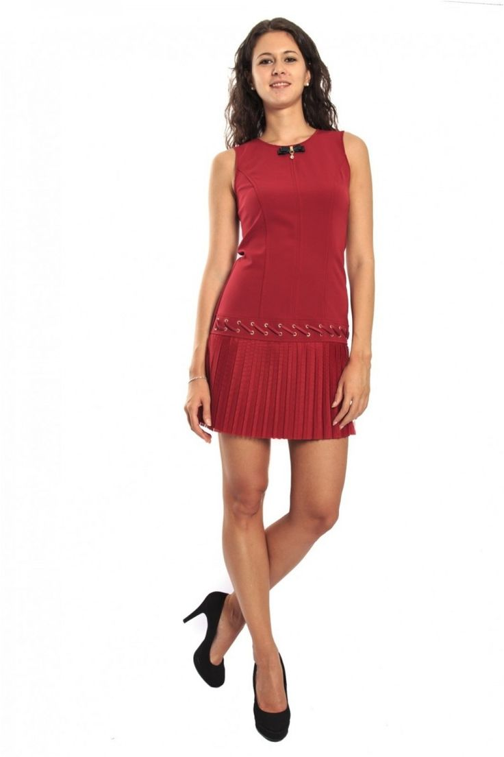 Rinascimento Red Dress With Pleated Skirt, Art CFC0069668003