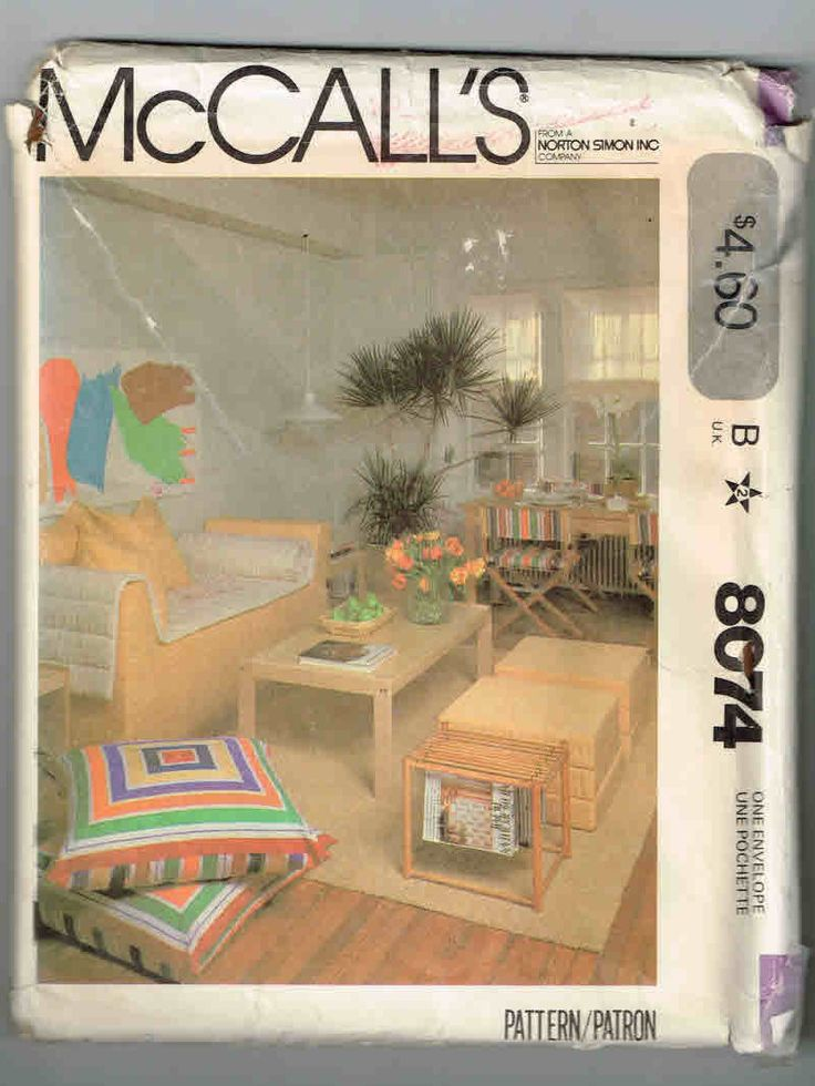 Vintage, Uncut, McCall's Pattern #8074, First Apartment, Foam Couch, Futon Pad, Chair Cover, Neckroll Cover, Roman Shade, Lounge Pad by TheShoppingMoll on Etsy