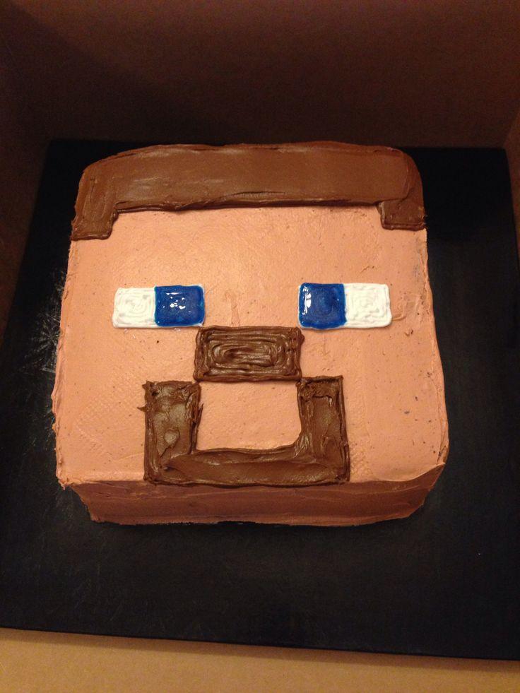 Minecraft Steve Face Cake Minecraft Party Pinterest