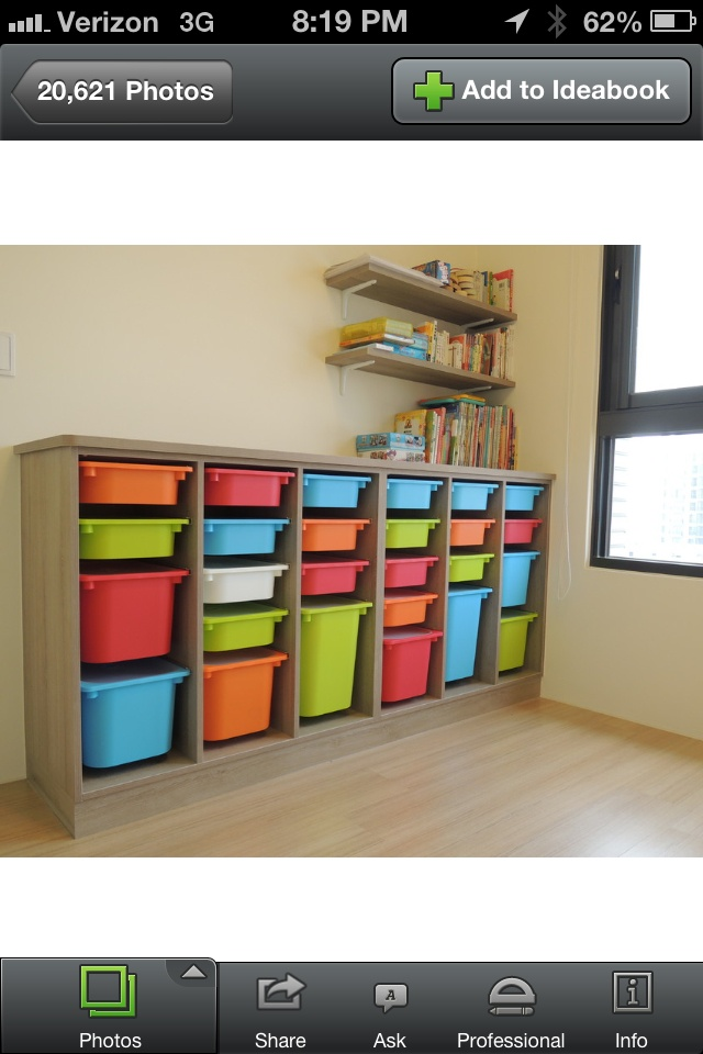 Great storage wall - shelves are waste baskets on 1x1s; unit is 3x4 ply with 1x2 framed
