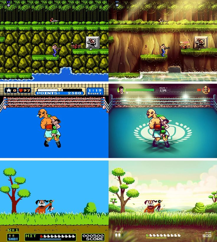 I painted over NES games screenshots part II (Contra II Punch-Out!! Duck Hunt) http://ift.tt/2tYXT3F