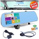 1080P Android WIFI GPS Sat Nav Blue Rear View Mirror Dash Camera CAR DVR T8400 - Bid Now! Only $62.0