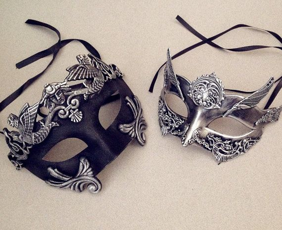 Metalic Silver Rose Gold Couple masquerade mask by Crafty4Party