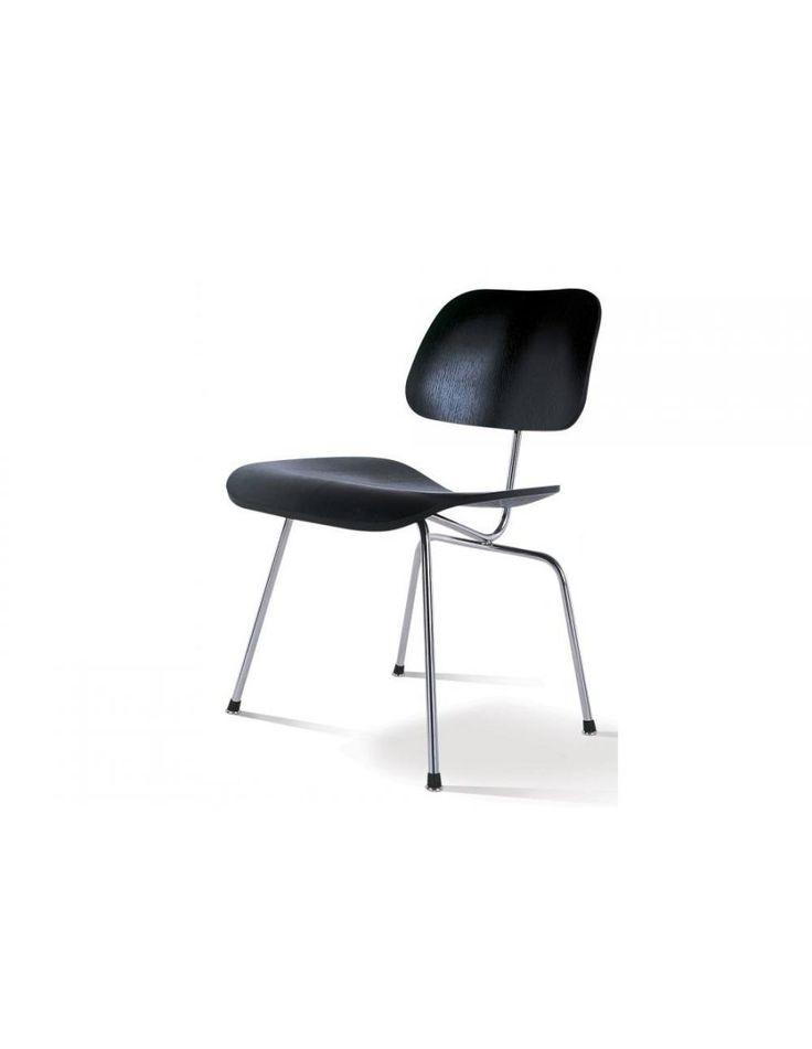 Vitra DCM Stoel Ontwerp: Charles & Ray Eames Zwart of naturel essenhout Verchroomd onderste