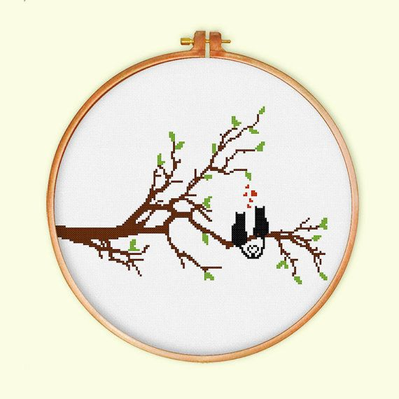 Cat Love on Tree cross stitch pattern cross stitch by ThuHaDesign