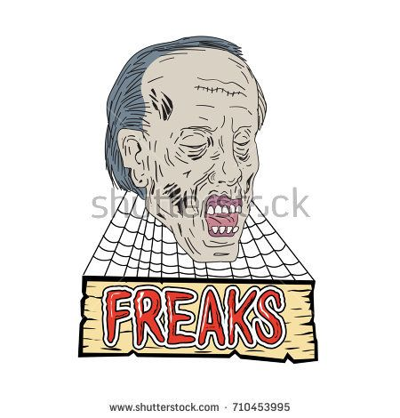 Drawing sketch style illustration of zombie the evil undead head with cobwebs and wooden banner and text Freaks on isolated background.  #zombie #drawing #illustration