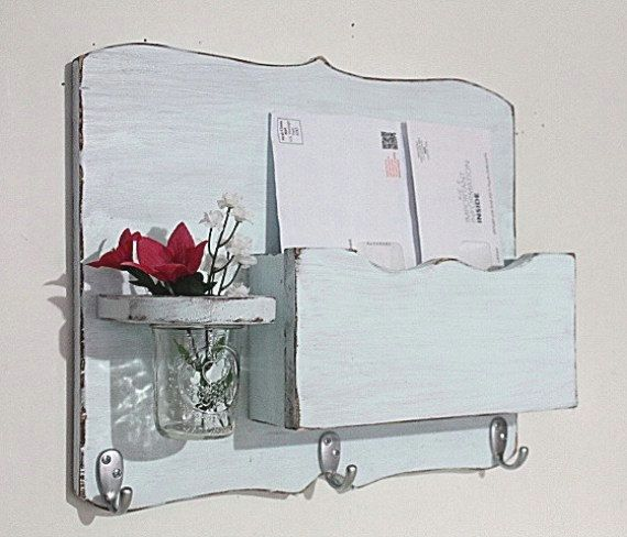 Large Mail Organizer, shabby chic, floral vase, mail holder, key hooks, mail holder, wood, distressed, decor,painted Icy Blue