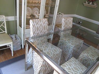 Directions for making slipcovers for parson style chairs. - Bibbidi Bobbidi Beautiful: How To Slipcover Henriksdal Parsons Dining Chairs