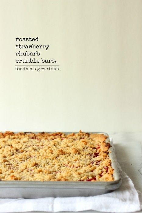 Roasted Strawberry and Rhubarb Crumble Bars | Foodness Gracious