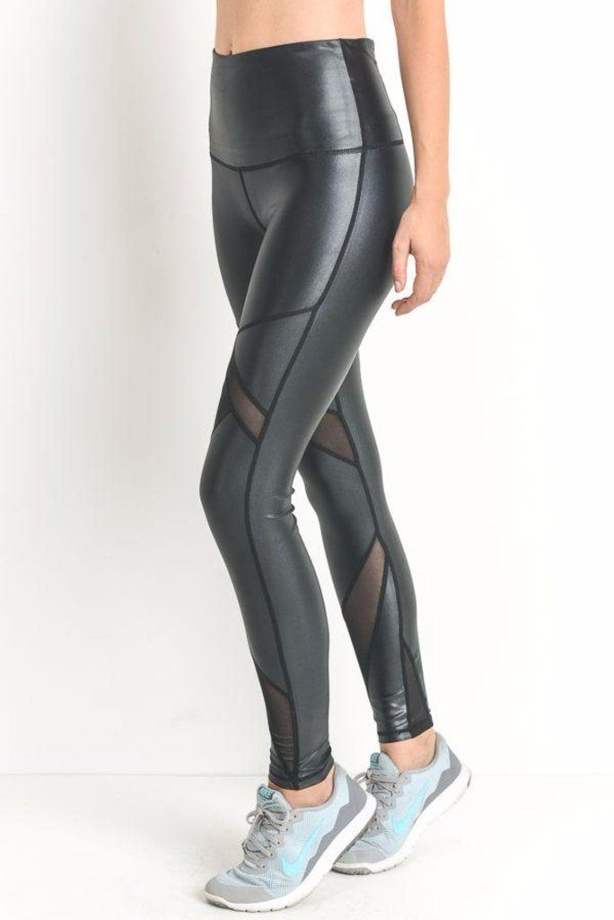 5e27acd76c009 Metallic, high-waist leggings feature satin-finish fabric and slanted mesh  panels Wide & high waist band for tummy support Zippered compartment on the  back ...