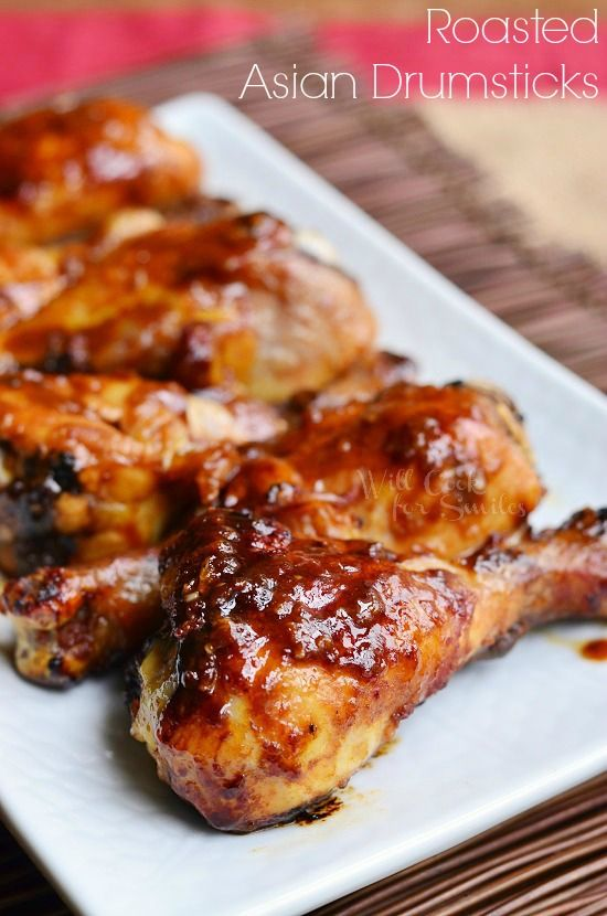 Asian Roasted Drumsticks. Oven roasted Chicken Drumsticks smothered in homemade Asian cuisine inspired sauce and baked to a juicy perfection.   from willcookforsmiles.com