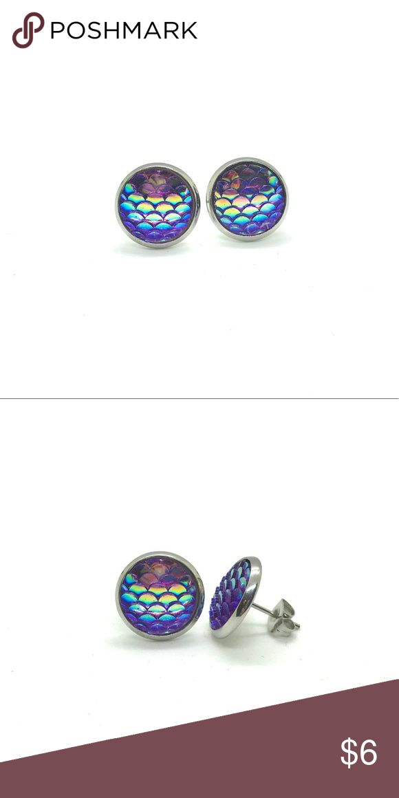 Purple Mermaid Scale Earrings, magical, dreamy Mermaid Scale Post Earrings magical earrings for girls and women.  Available in three color: green, blue, and purple  Dimensions: 14 mm diameter  Materials: Acrylic face with Silver plated backings Jewelry Earrings
