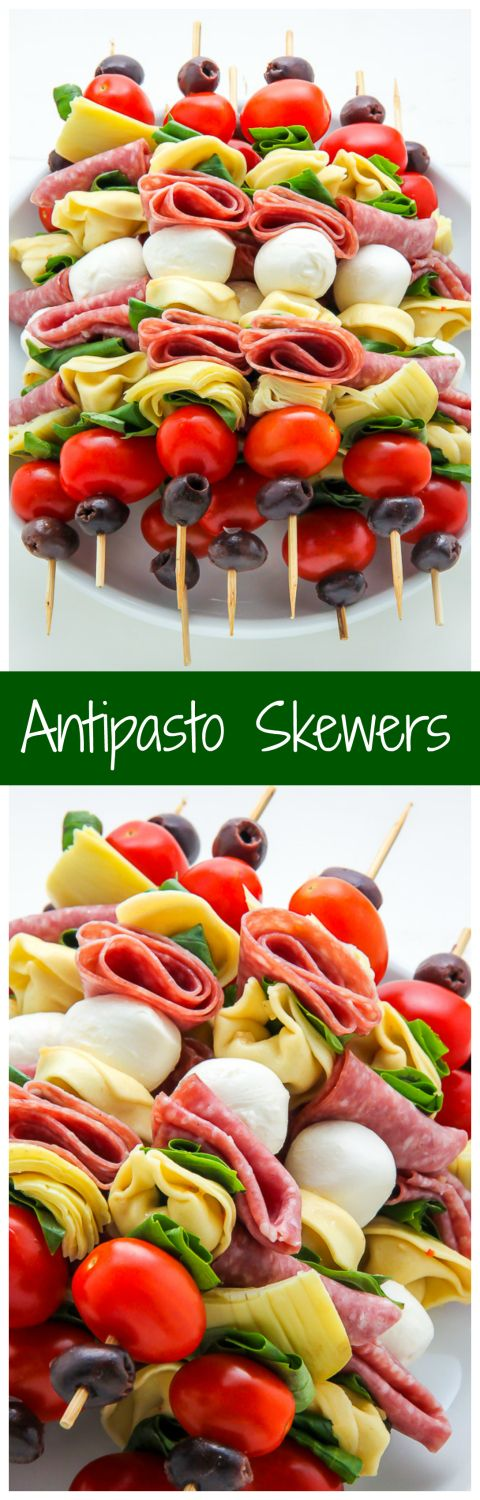 Antipasto skewers = easiest appetizer EVER.