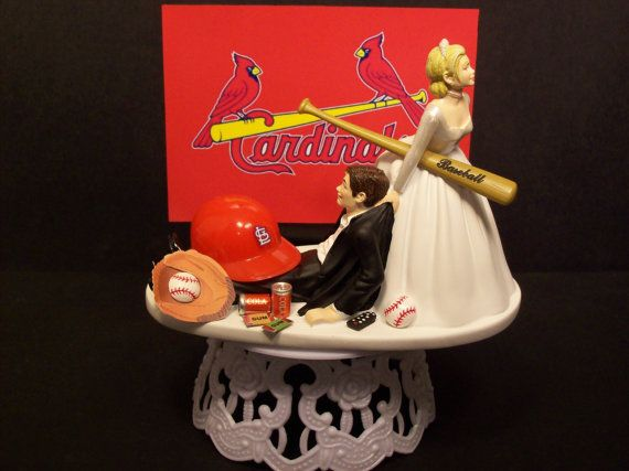 ST LOUIS CARDINALS Baseball or your team Bride and Groom Funny Wedding Cake Topper on Etsy, $79.99
