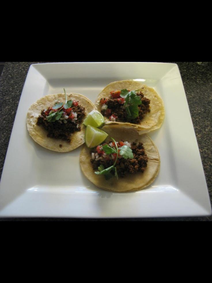 5 chilies beef taco, pico de gallo, fresh lime, cilantro, corn tortilla. #chef_junpet