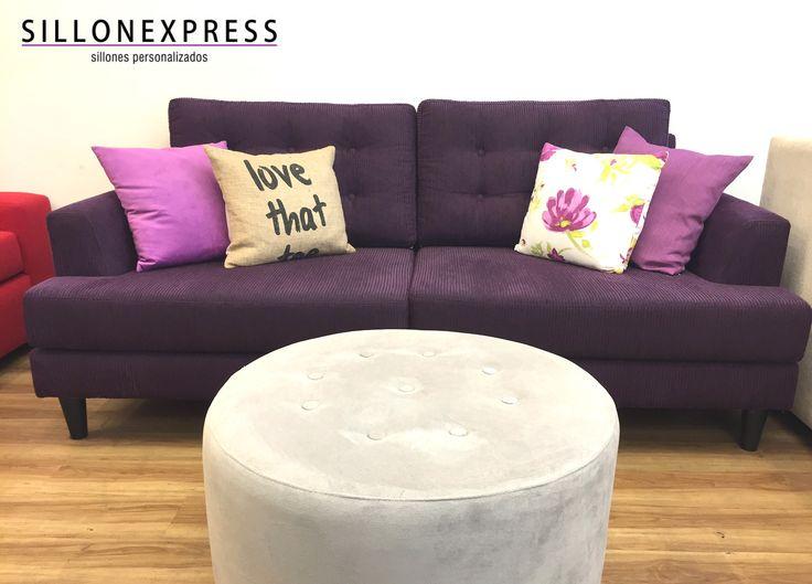 Sofa Modelo Marité Con Botones + Puff Circular Pana color gris claro