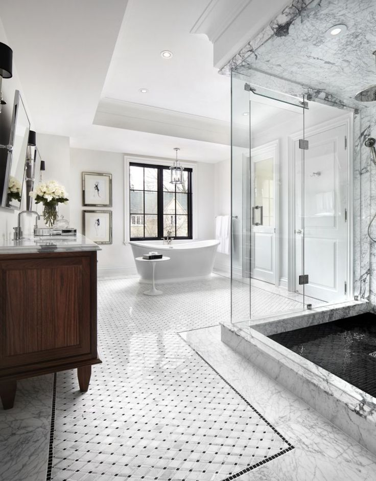 207 best dream bathrooms images on pinterest for Marble master bathroom
