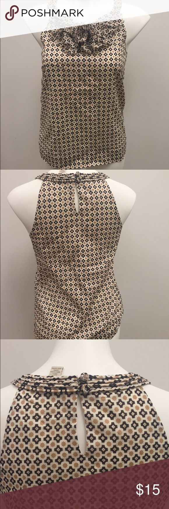 J. Crew Casa Mosaic Cotton Petal Cami $78 Beautiful brown and neutral 100% cotton blouse from J. Crew with a mosaic print and petal detailing at the neckline. It has a slight opening in the back with closure at neckline. Size 4, very good condition! #jcrew #neutral #cotton #jcrewforsale #mosaic J. Crew Tops Blouses