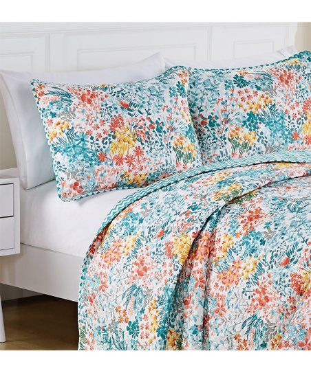 Vcny Home Blue Yellow Kayla Quilt Set Zulily Bedroom Bedroom