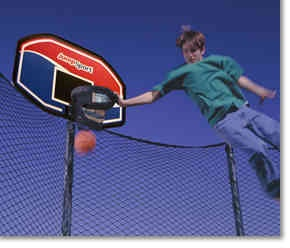 Slam Dunk Trampoline Basketball Goal - Slam Dunk Like the Pros !  Created For Safe Trampoline Play. Advanced Shock-Absorbing Hoop Design.  Includes: Back Board, Hoop, Mounting Hardware, Basketball. For use with straight pole enclosures only. Does NOT FIT Arched Pole Enclosures. Styles/Colors may vary from photo. #TrampolineBasketball