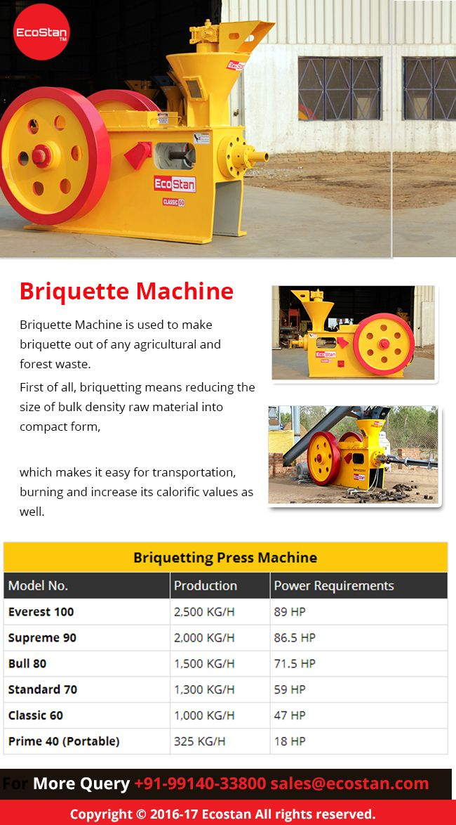 #EcoStan is one of the prominent manufacturer, exporter and supplier of #BiomassBriquettingMachine in India that help to press an agricultural waste and produce a briquette charcoal.