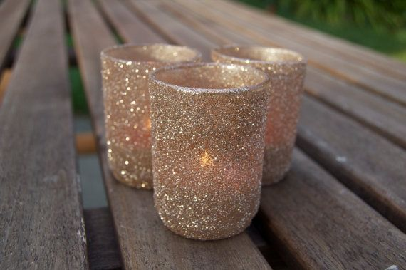 Glitter votive holders in Champagne by jamieswhimsies on Etsy, $15.00