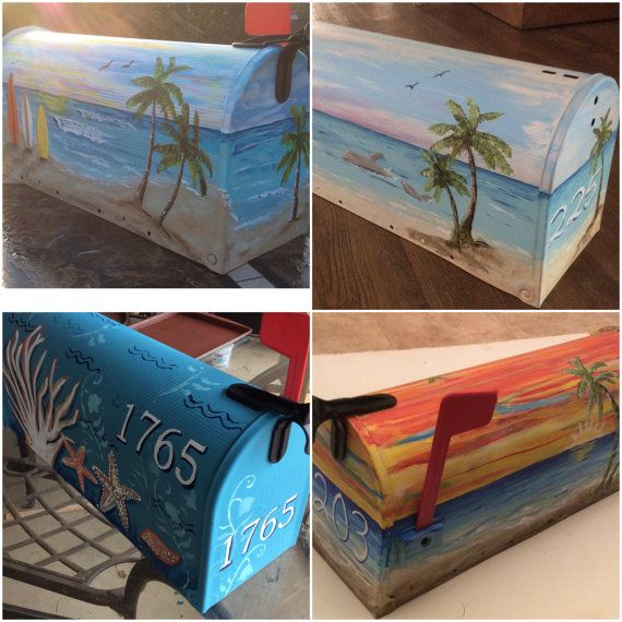 hand painted  LARGE mailbox, tropical beach nautical coastal seascape sunset seagull birds sun sky, surf, waves,  beach lover, house warming