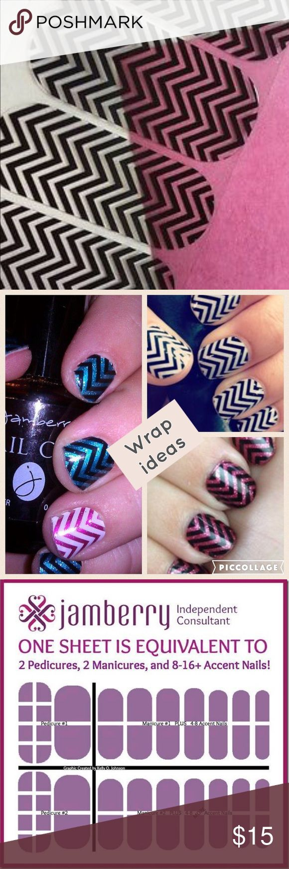RETIRED WRAP: Jamberry BLACK CLEAR CHEVRON RETIRED BLACK CLEAR CHEVERON  4 sale in full sheet full sheet provides 2 pedicures 2 Manicures & 8-16 accents WANT half sheet comment below every Jamberry Bundle purchased u will receive a free Jamberry gift. wraps r made w/durable materials no smudges & streaks are can last for up to 2 week on fingernails & 4 weeks on toes customize, pair, & layer nail wraps 2 create a look that's U from the comfort of your home Non-toxic 5-Free Dibutyl Phthalate…