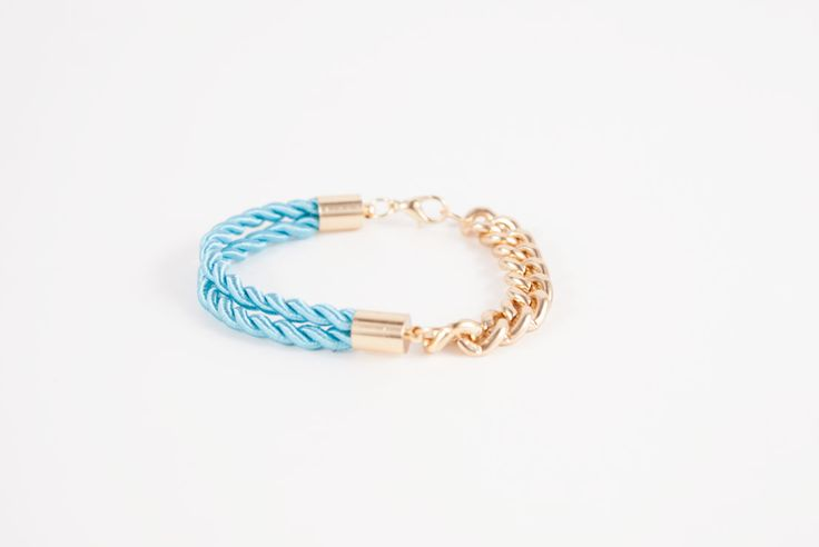Sky blue Cord Bracelet with 18k Gold Plated Chain - Golden Eight