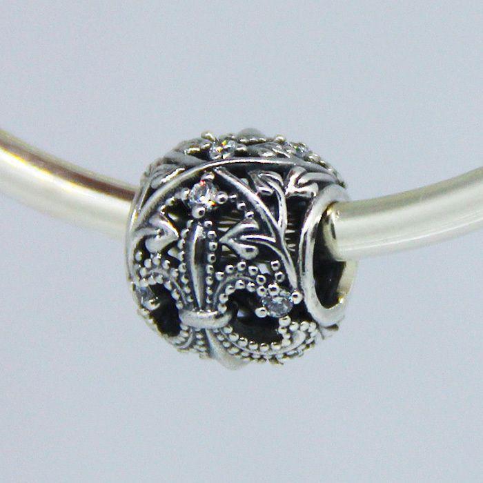 Подходит пандоры прелести браслет стерлингового серебра 925 ажурные флер де лис шармов с кристалл DIY бусины изготовления ювелирных изделий