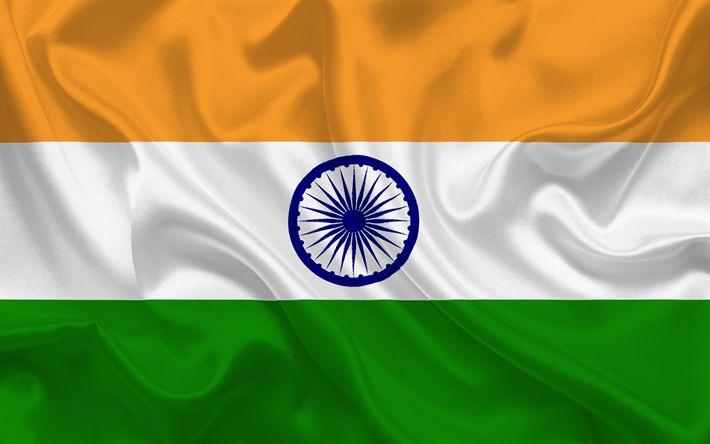 Descargar fondos de pantalla Bandera india, la India, Asia, bandera de la India, Asia banderas