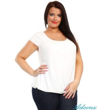 Nice White & Golden Dots Top.Size 18/20   This a stunning top in spacious size. Ruched Sleeves, Fully lined.  Featuring a ruched sleeve detail, this top strikes the perfect balance with its versatile design and fashionable detailing. Round neck - short ruched sleeve - metallic stud detail. - See more at: http://adornz.co.nz/plus-size-tops-online-auckland/golden-dots-top-plus-size-adorn