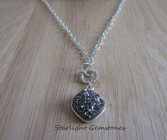 Platinum Druzy Pendant on Solid Silver Plated Cable Chain. Ships worldwide.